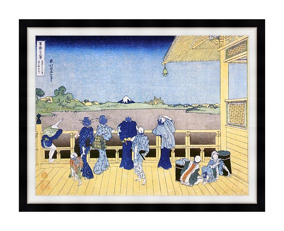 Katsushika Hokusai People on the Balcony of the Gohyaku Rakan Temple with Modern Black Frame