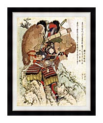 Katsushika Hokusai The Warrior Hatakeyama Shigetada Carrying His Horse Down The Hill After It Had Been Injured canvas with modern black frame