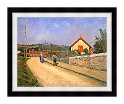 Camille Pissarro Railway Crossing At Patis Near Pontoise canvas with modern black frame