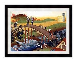 Katsushika Hokusai Travelers On The Bridge Near The Ono Waterfall On The Kisokaido Road canvas with modern black frame