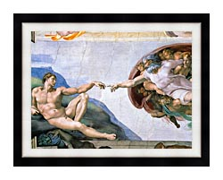 Michelangelo Buonarroti The Creation Of Adam canvas with modern black frame