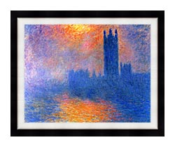 Claude Monet Houses Of Parliament London Sun Breaking Through The Fog canvas with modern black frame