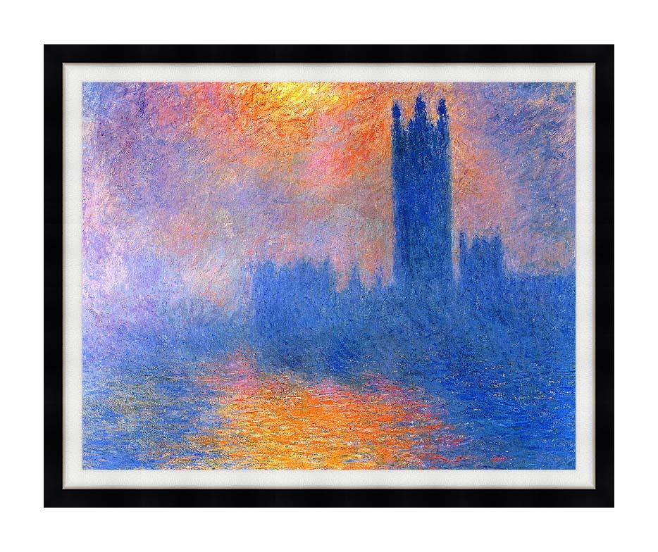 Claude Monet Houses of Parliament, London, Sun Breaking Through the Fog with Modern Black Frame