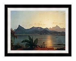 Martin Johnson Heade Sunset Harbor At Rio De Janeiro Detail canvas with modern black frame