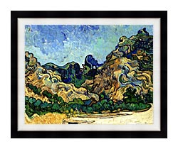 Vincent Van Gogh Mountains At Saint Remy canvas with modern black frame