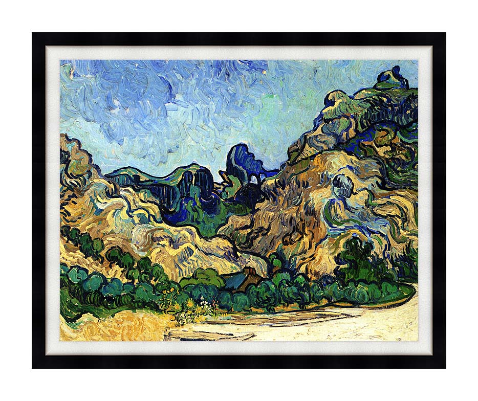 Vincent van Gogh Mountains at Saint Remy with Modern Black Frame