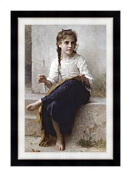William Bouguereau Young Seamstress Sewing canvas with modern black frame