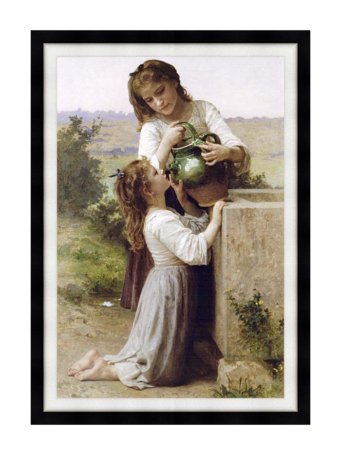 William Bouguereau Girls At the Fountain with Modern Black Frame