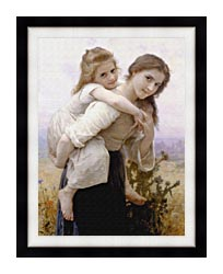 William Bouguereau Not Too Much To Carry canvas with modern black frame