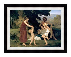 William Bouguereau Pastoral canvas with modern black frame