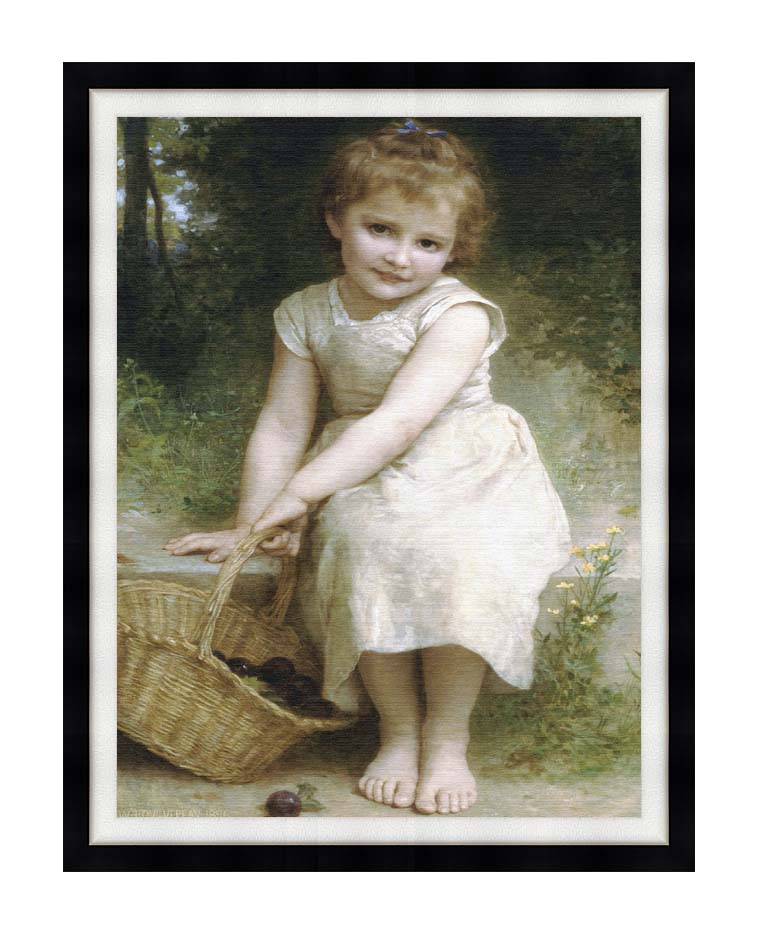 William Bouguereau Plums with Modern Black Frame