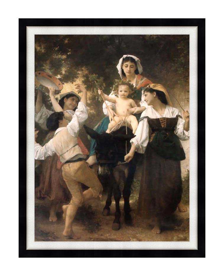 William Bouguereau Return from the Harvest with Modern Black Frame