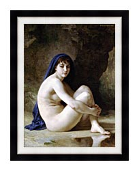 William Bouguereau Seated Nude canvas with modern black frame
