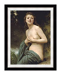 William Bouguereau Spring Breeze canvas with modern black frame