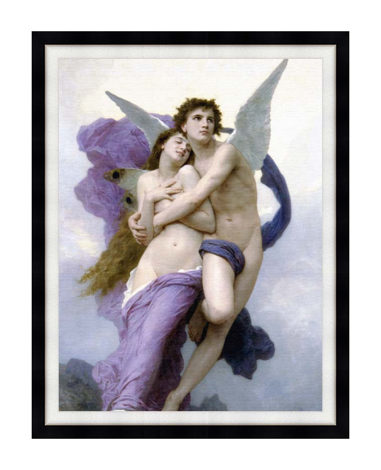 William Bouguereau The Abduction of Psyche with Modern Black Frame