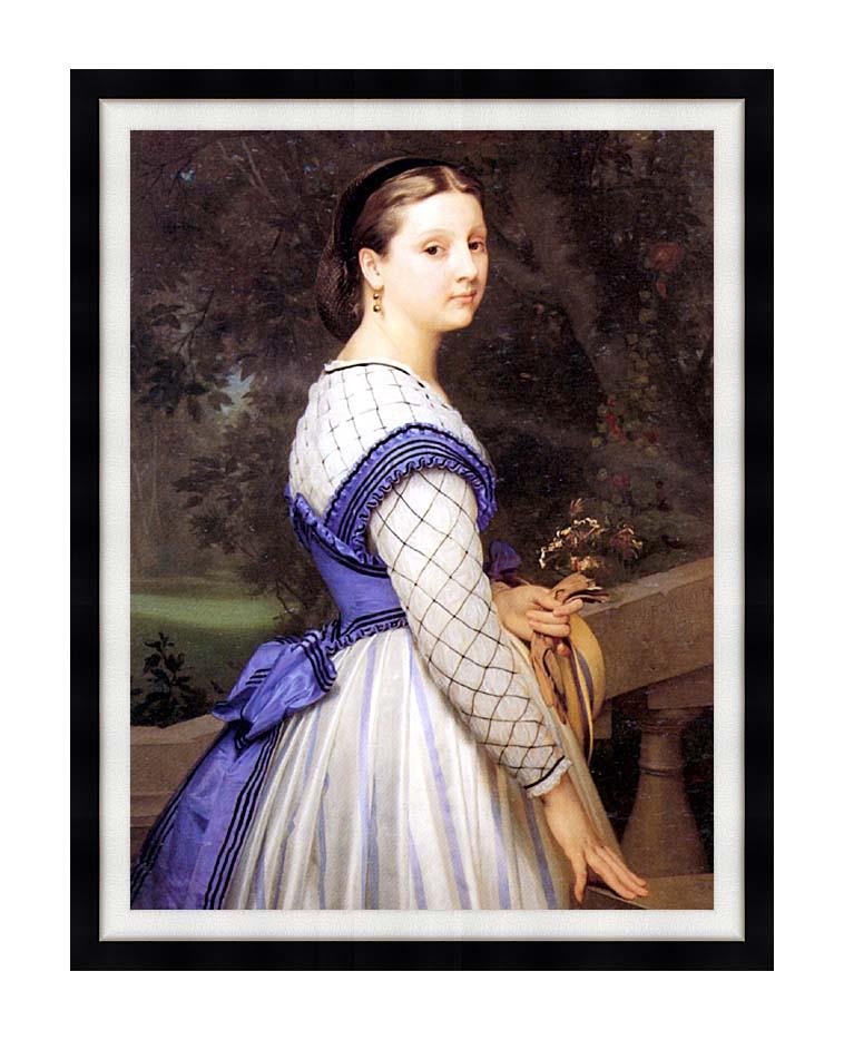 William Bouguereau The Countess de Montholon with Modern Black Frame