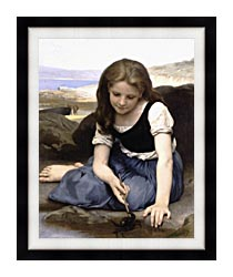 William Bouguereau The Crab canvas with modern black frame