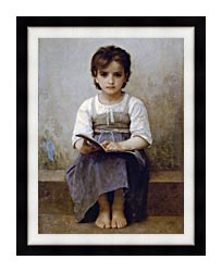 William Bouguereau The Difficult Lesson canvas with modern black frame