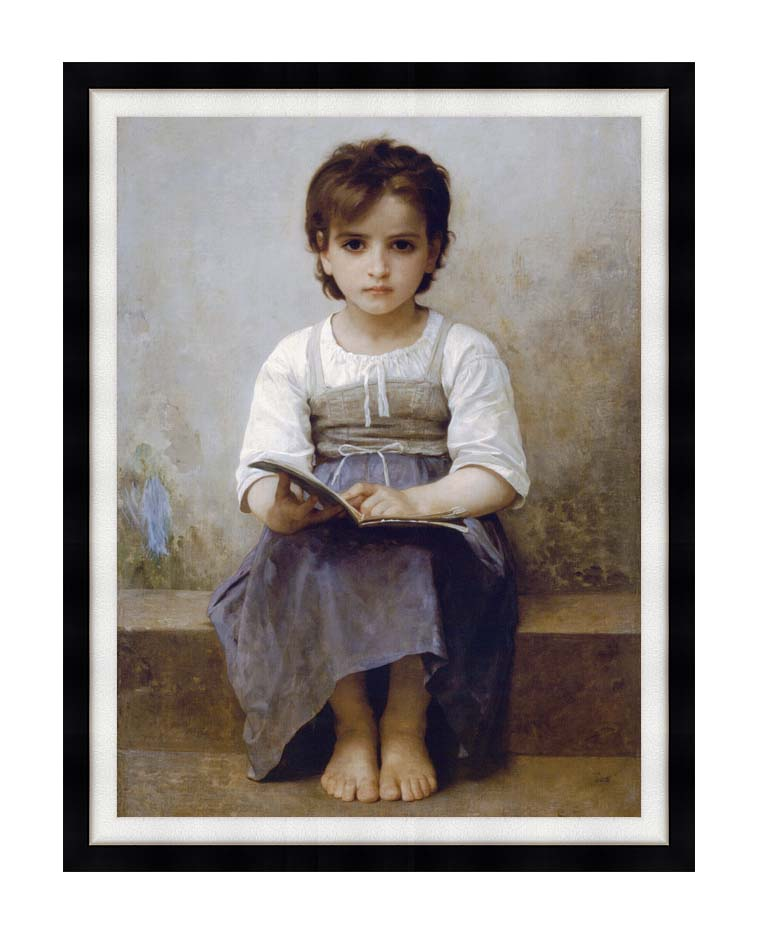 William Bouguereau The Difficult Lesson with Modern Black Frame