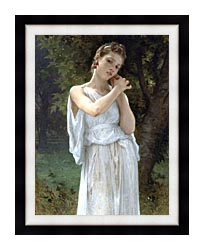 William Bouguereau The Earrings canvas with modern black frame
