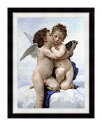 William Bouguereau The First Kiss canvas with modern black frame