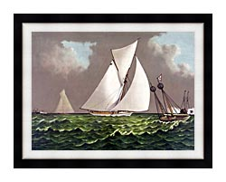 Currier And Ives Sailboats Nearing The Finish Line canvas with modern black frame