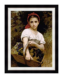 William Bouguereau The Grape Picker canvas with modern black frame