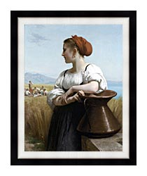 William Bouguereau The Harvester canvas with modern black frame