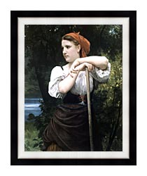 William Bouguereau The Haymaker canvas with modern black frame