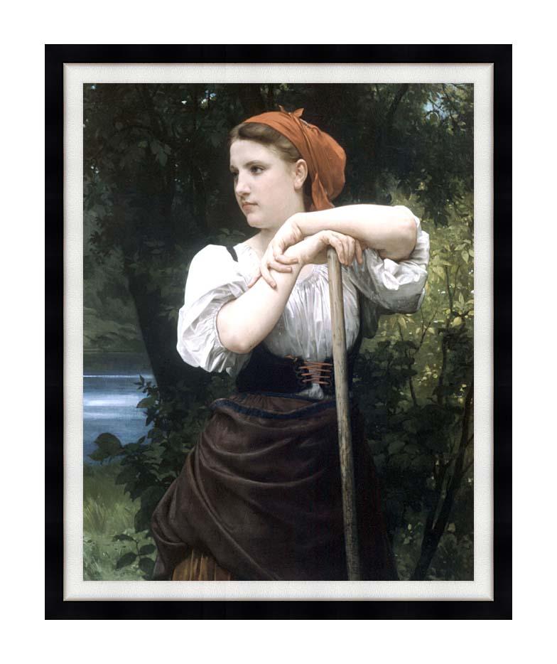 William Bouguereau The Haymaker with Modern Black Frame