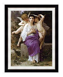 William Bouguereau The Hearts Awakening canvas with modern black frame