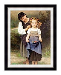 William Bouguereau The Jewel Of The Fields canvas with modern black frame