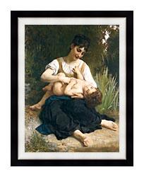William Bouguereau The Joy Of Motherhood canvas with modern black frame