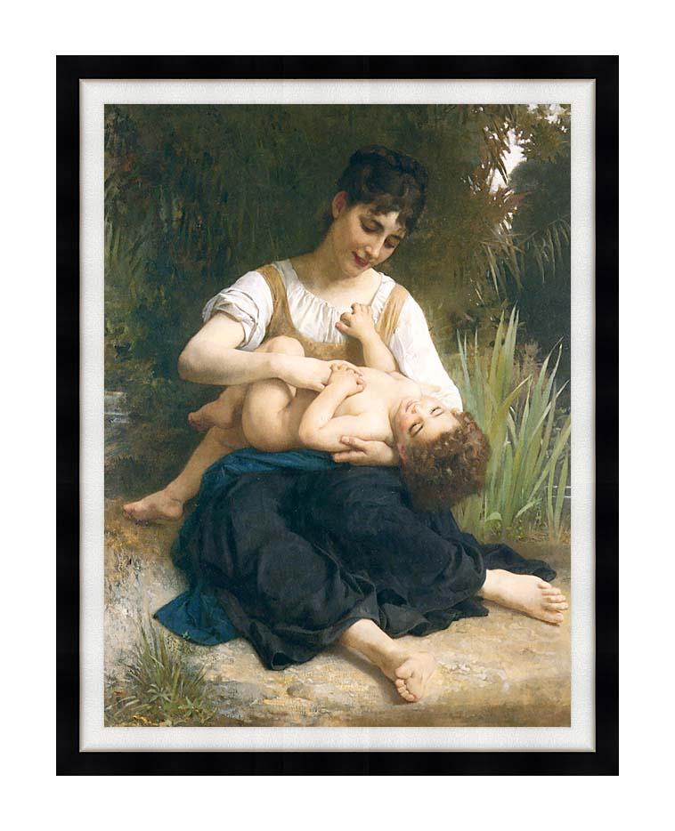 William Bouguereau The Joy of Motherhood with Modern Black Frame