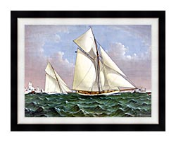 Currier And Ives Mayflower Saluted By The Fleet canvas with modern black frame