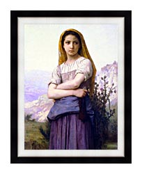 William Bouguereau The Knitter canvas with modern black frame