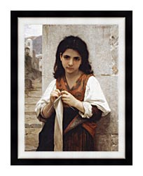 William Bouguereau Young Girl Knitting canvas with modern black frame