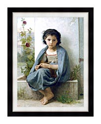 William Bouguereau The Little Knitter canvas with modern black frame