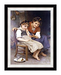 William Bouguereau The Little Sulk canvas with modern black frame