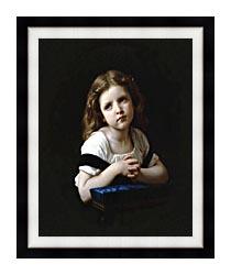 William Bouguereau The Prayer canvas with modern black frame