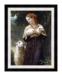William Bouguereau The Shepardess canvas with modern black frame