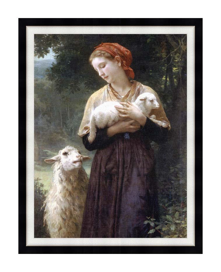 William Bouguereau The Shepardess with Modern Black Frame