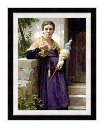 William Bouguereau The Spinner canvas with modern black frame