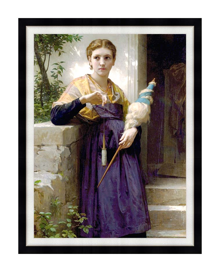 William Bouguereau The Spinner with Modern Black Frame