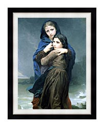 William Bouguereau The Storm canvas with modern black frame