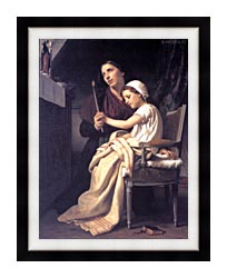 William Bouguereau The Thank Offering canvas with modern black frame