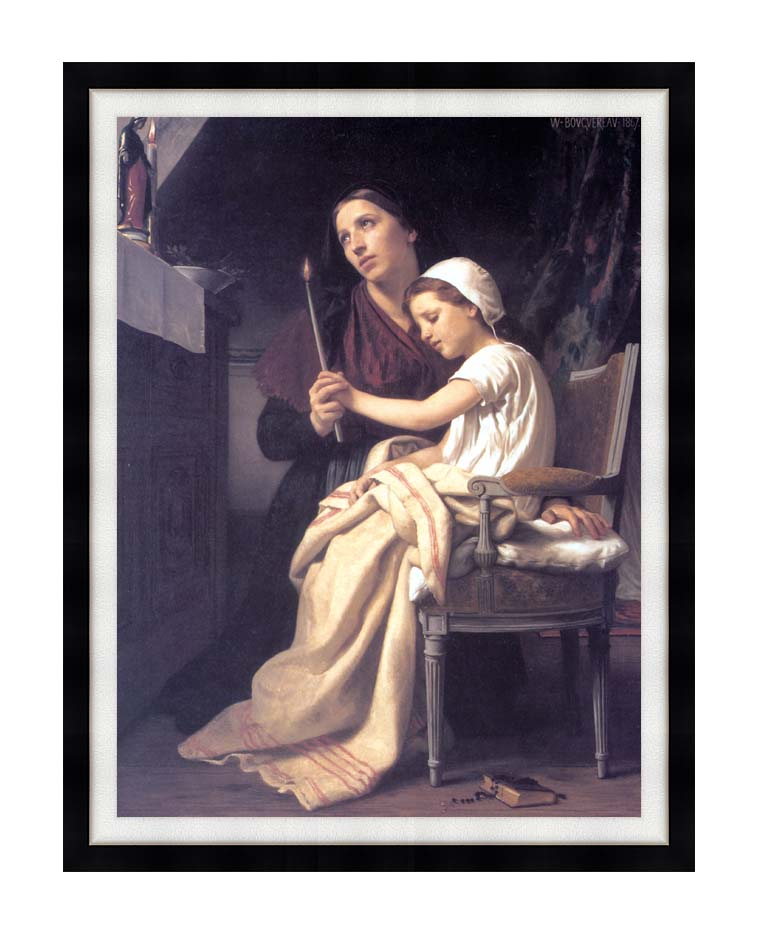William Bouguereau The Thank Offering with Modern Black Frame