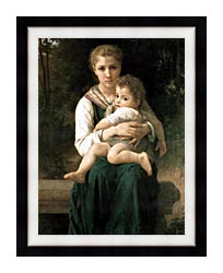William Bouguereau The Two Sisters canvas with modern black frame