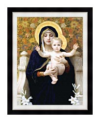 William Bouguereau The Virgin Of The Lilies canvas with modern black frame