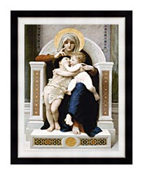 William Bouguereau The Virgin Baby Jesus And Saint John The Baptist canvas with modern black frame